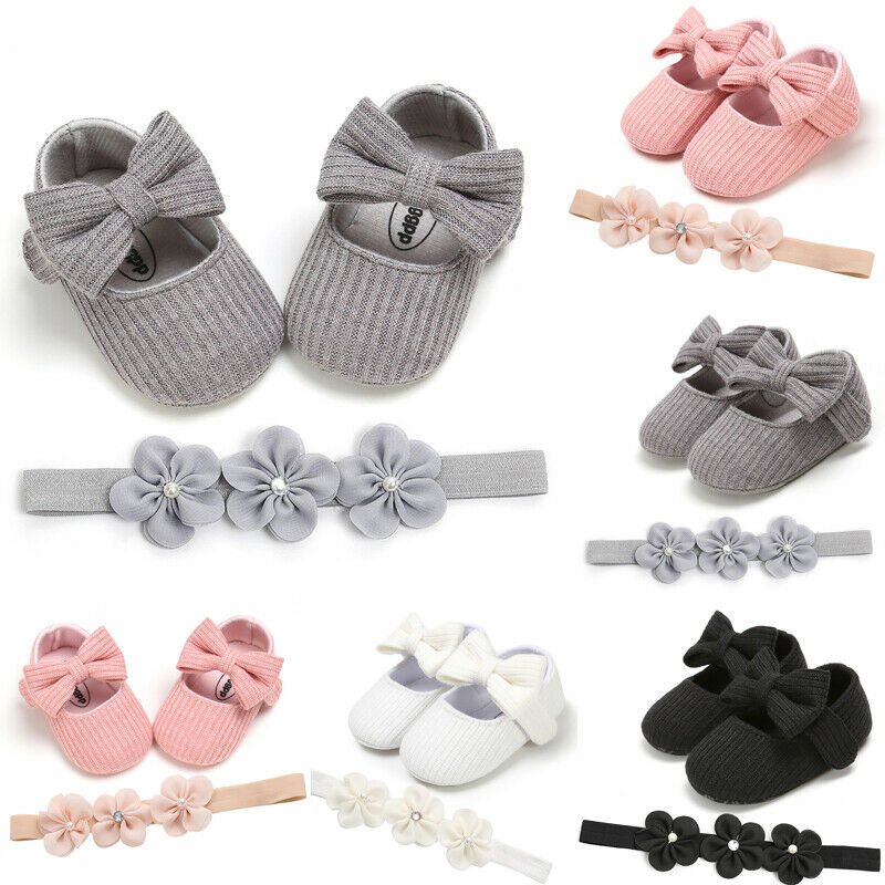 Baby Girl Crib Pram Shoes Flower for Baby Feet Mesh Hair Headband Sandals Set