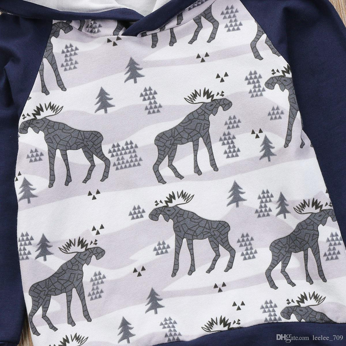 Kids Tops Hoodie Top Pant Leggings Cute Animals Kids Baby Clothes Set Warm Outfits Deer Baby Boys Girls Christmas Clothes
