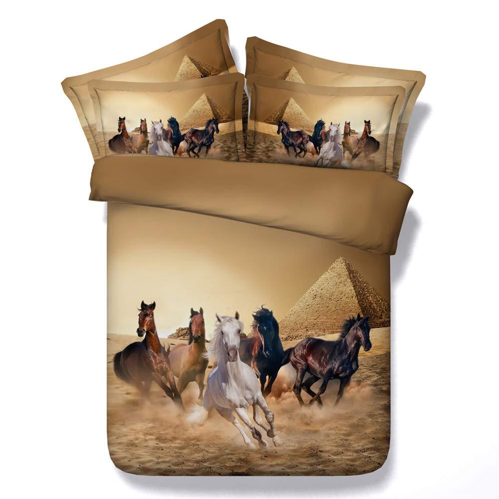 Running Galoppierende Pferde Pony Design Doppel Bettbezug Set mit Kissenbezug