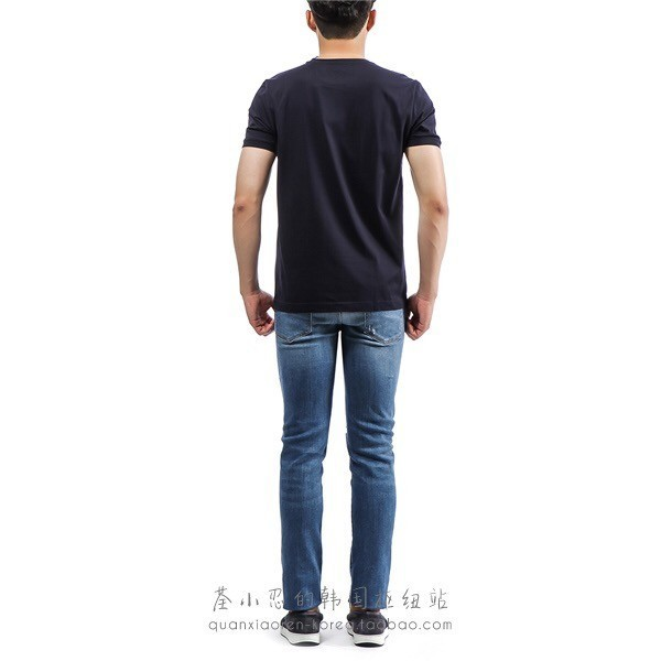 Men's Short Sleeve Summer New Little Monster Square Hot Drill Round Neck T-shirt Mercerized Cotton Fabric Comfortable And Sweat-absorbent