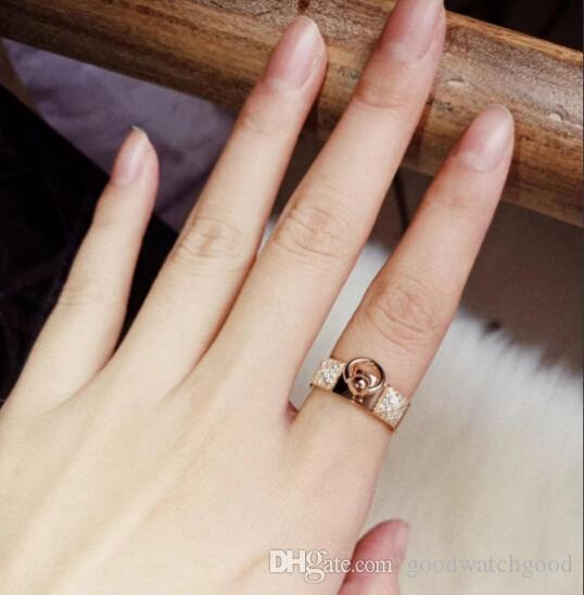ring 925 silver rivet Gold-plated H ring women banquet jewelry ring Valentine gift