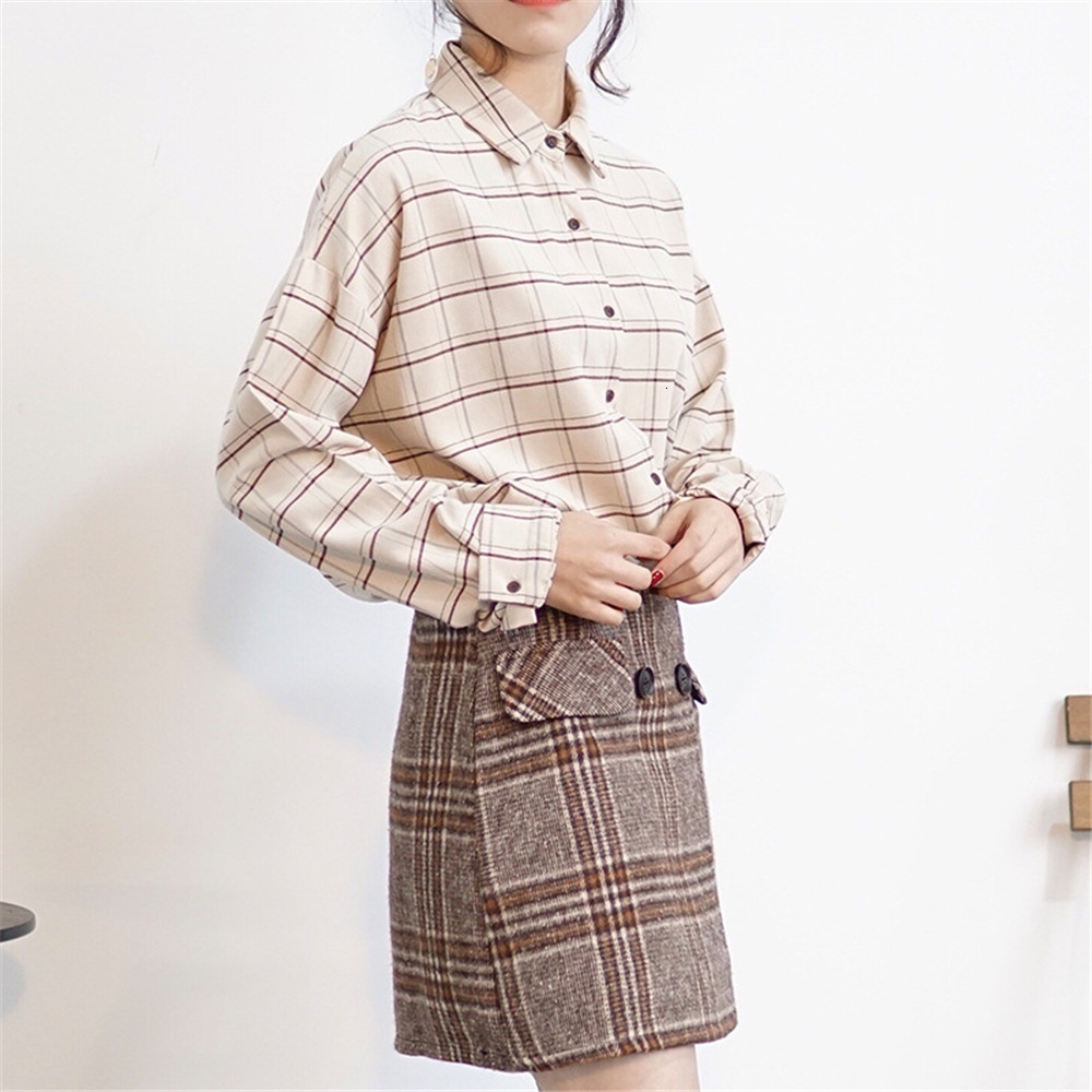 Loose cotton Checkered plaid College blouses shirt Cage female long sleeve Casual women Blouse shirt office lady tops (11)