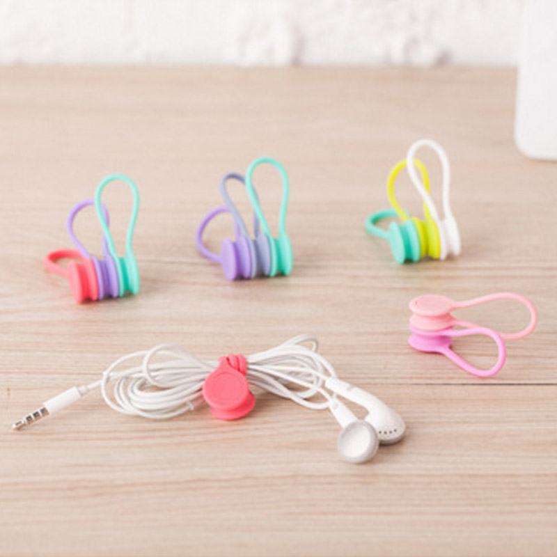 2X Multifunction Magnet Earphone Cord Winder Cable Holder Organizer Clip Hubs