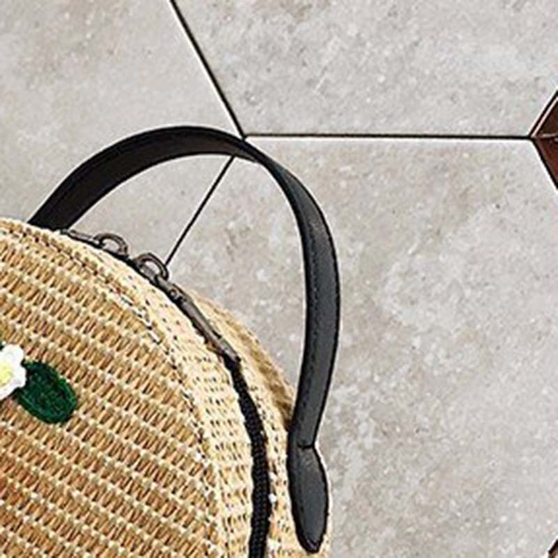 New Women Circle Handbag Summer INS Popular Female Straw Bag Cherry Lady Knit Shoulder Bag Fashion Holiday Crossbody SS7314 (8)