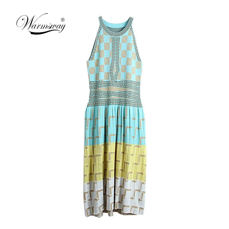 2019 Summer Women Knitting Dress Sexy Halter Neck Sleeveless Plaid Long Sweater Party Dress ladies Boho vestidos mujer C-124