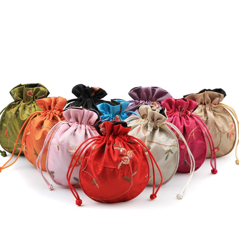 a set 5pieces purple handbags silk satin bags pouches Wallets V1124
