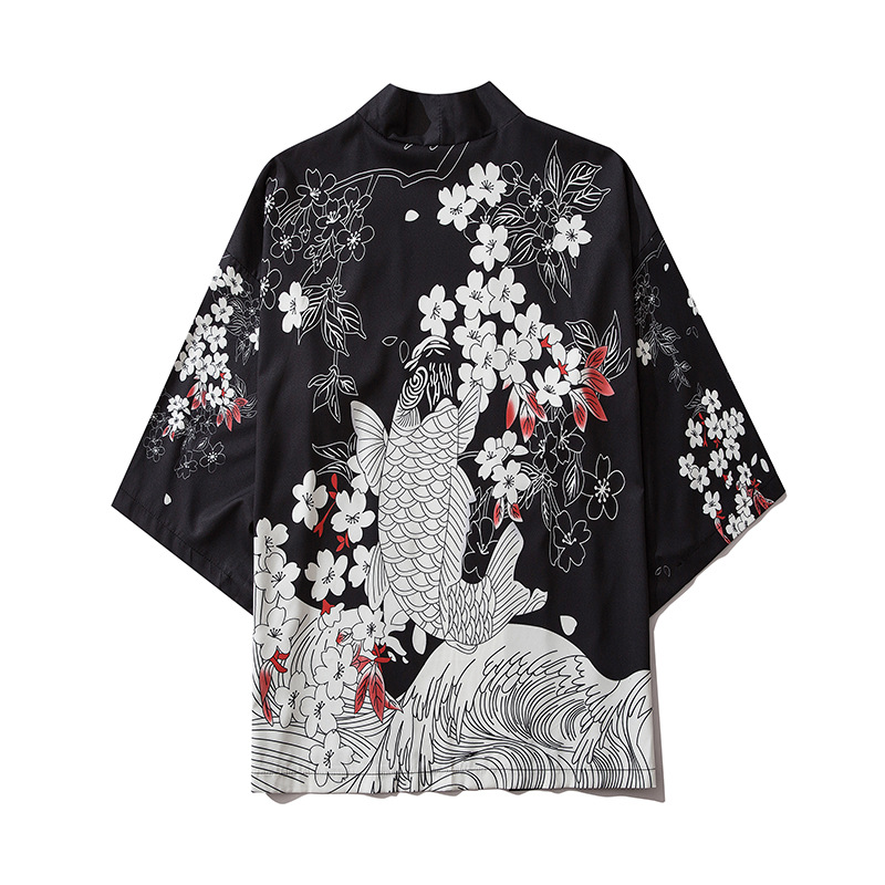 Men Japanese Kimono Style Cranes Embroidery Jacket Retro Loose Coat Oversize Top