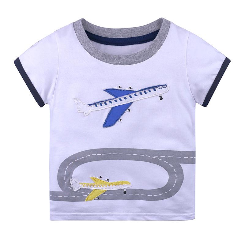 Baby Girls T-shirt Short Sleeves Cartoon Animal Pattern Baby Girls Top for Summer Cotton Knitted Childrens Boys T-shirt