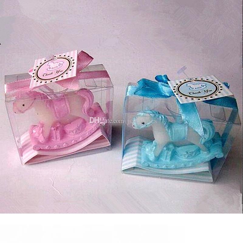 Baby Shower favor Cajas-Blue Mecedora De Caballo-Pack De 10 Bautizo