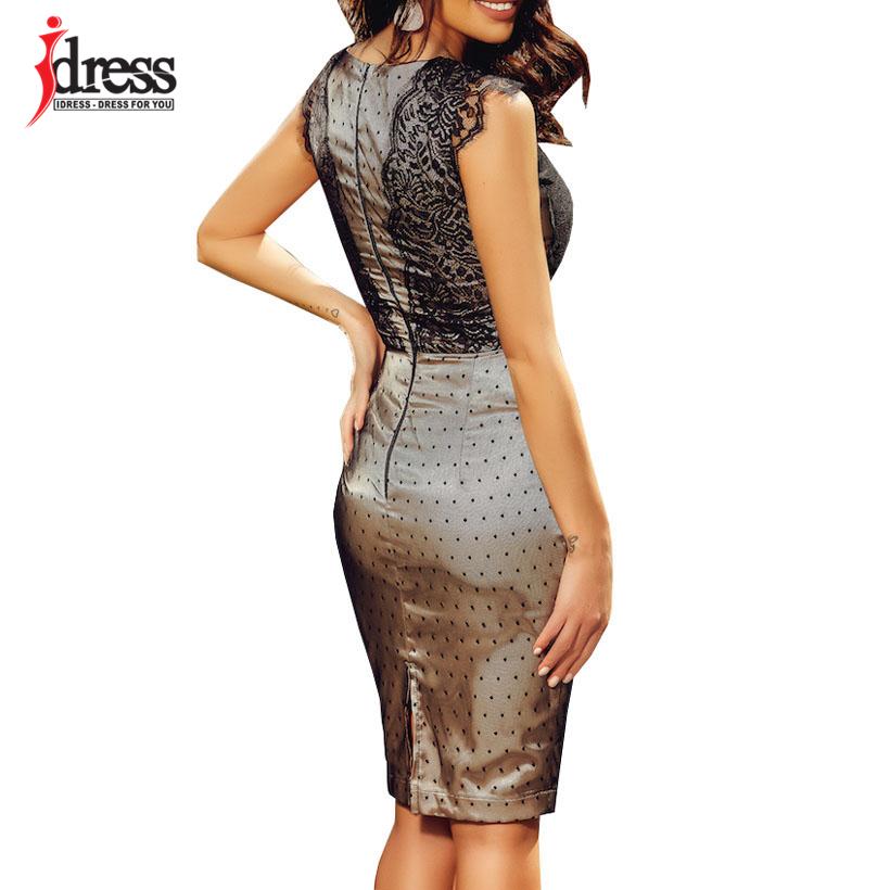 IDress 2019 New Sexy Women Dress Elegant Knee length Bodycon Midi Dress Sleeveless Party Night Cheap Clothes China Ladies Dress (2)