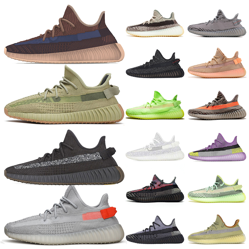 yeezy boost 350 New Kanye West Chaussures de course pour homme femme Stock x Cinder Tail lumière Desert Sage Terre Mode Tennis Chaussures Baskets