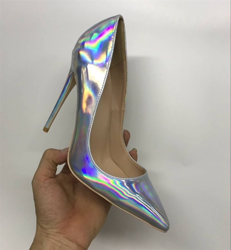 Fairy2019 Laser 12cm Color Intrigue High-heeled Shoes Woman Sharp Shallow Mouth 10cm Fine With Sexy Single Shoe Small Code