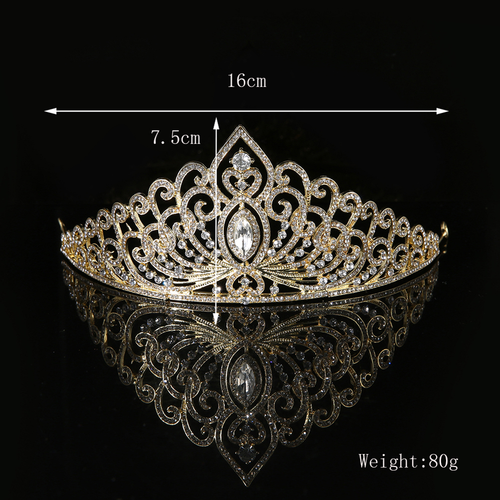 Luxury Gold Color Wedding Crown Queen Bridal Tiaras Bride Crystal Princess Crown Headband Wedding Hair Accessories Hair Jewelry