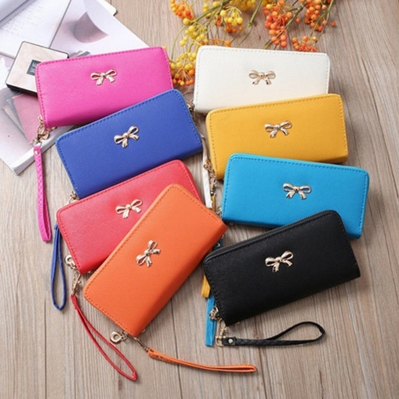 PBL Womens Fashion Clutch Leather Long Handbag Ladys Bowknot Wallet Coin Purse