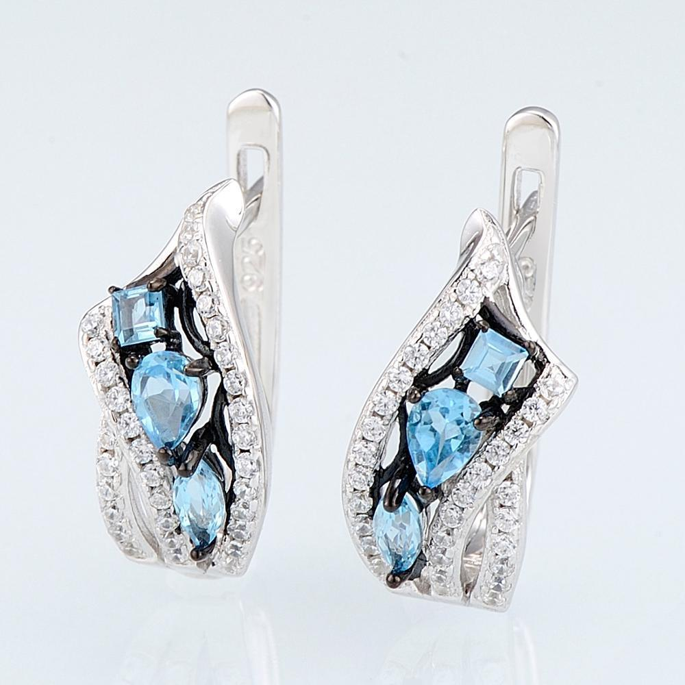 E304633SBLTZSK925-SV2-Silver Earrings