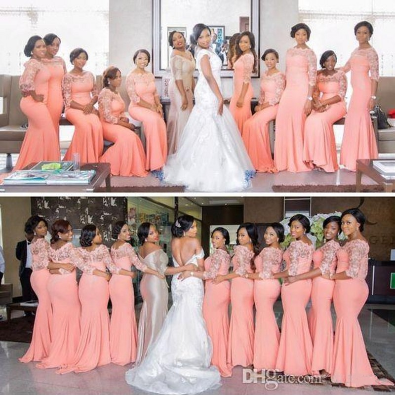 Elegant Coral Long Bridesmaids Dress with Sleeves Plus Size Lace Mermaid Party Dress Beautiful Bridesmaid Dress