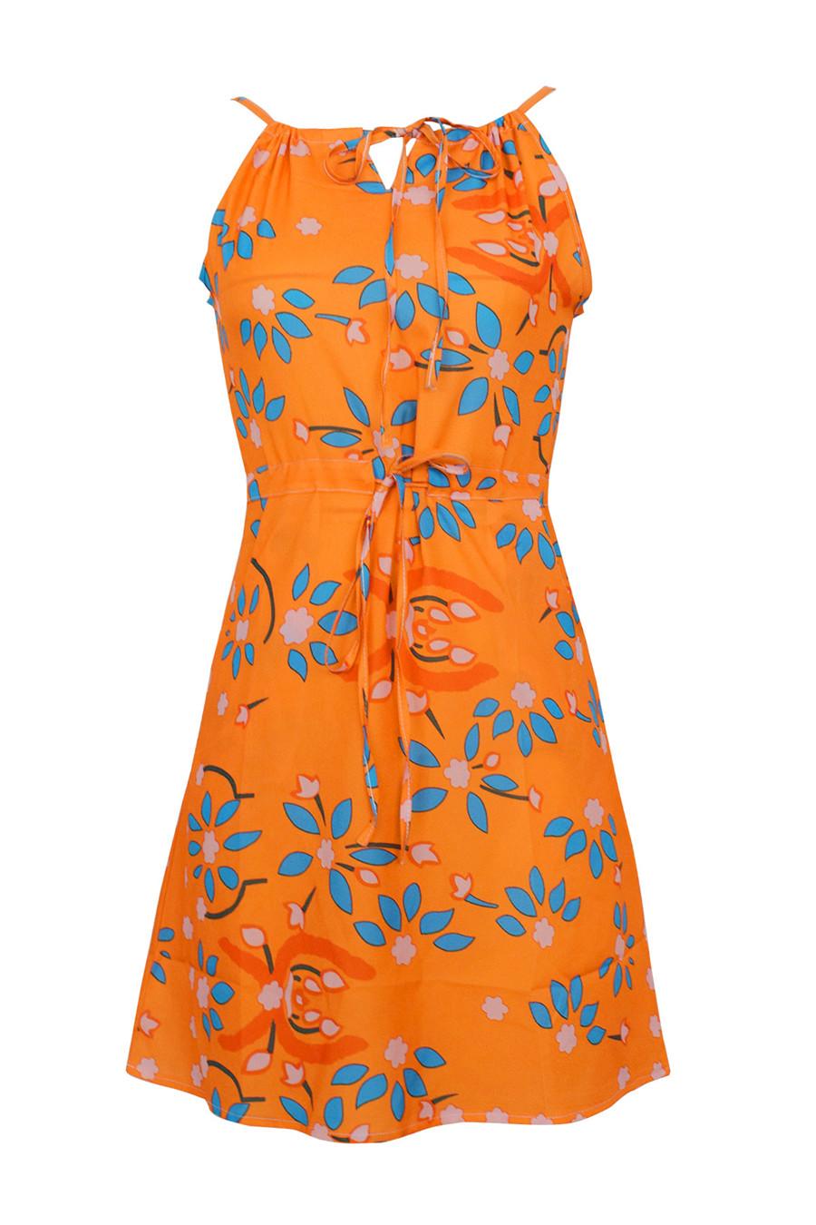 Gladiolus Chiffon Women Summer Dress Spaghetti Strap Floral Print Pocket Sexy Bohemian Beach Dress 2019 Short Ladies Dresses (15)