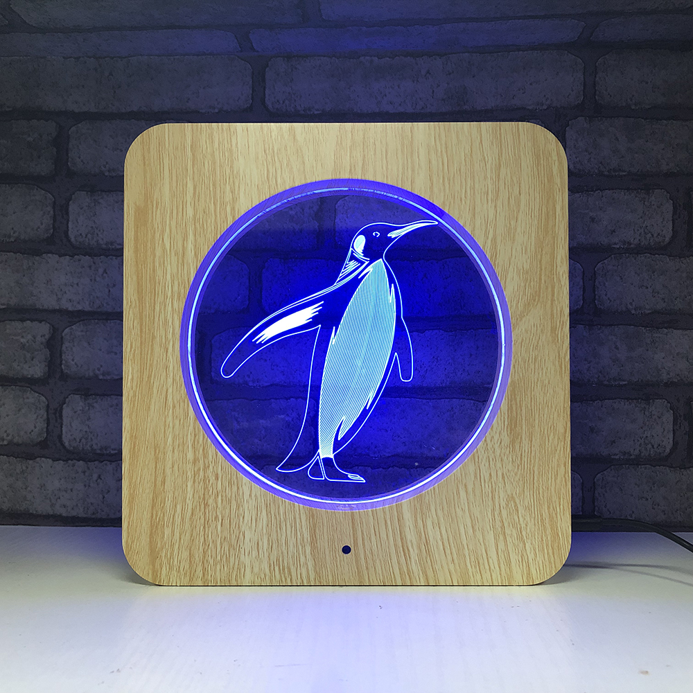 Wooden Carving Acrylic Lamp LED Penguin 3D Night Light Penguin for Home Decoration Lamps Best Gift for Child...