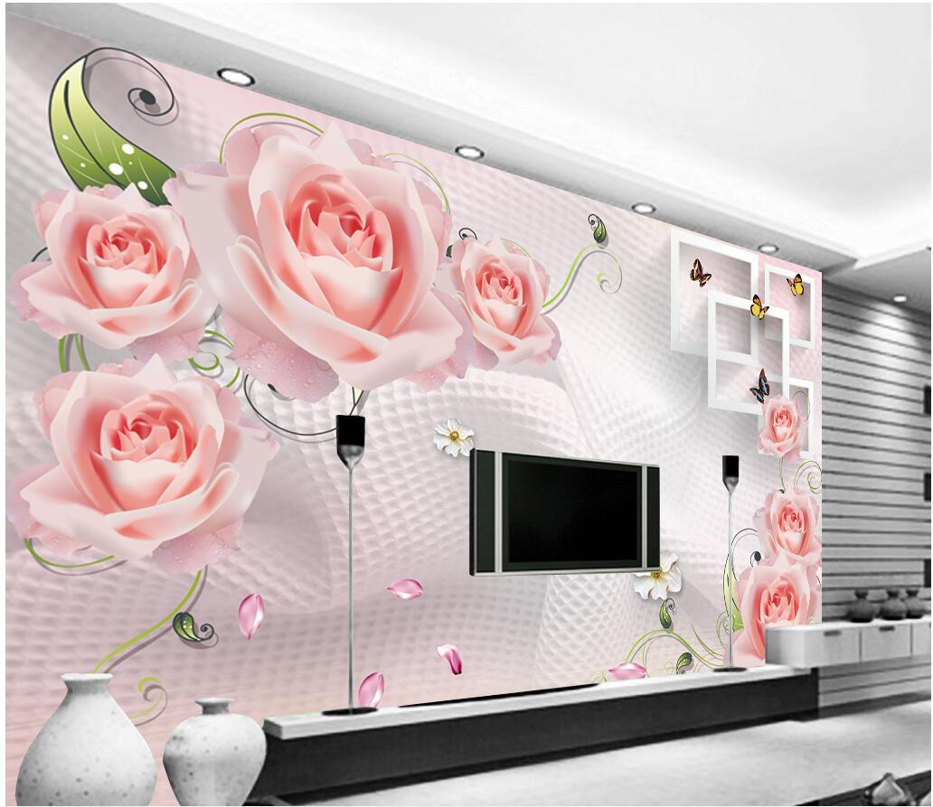 Butterflies Rose Vine 3D Square Full Wall Mural Photo Wallpaper Print Home Kid