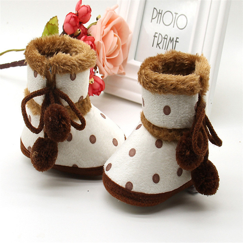 1 Pair Baby Girl Boots Baby Girl Dot Printed Bowknot Soft Sole Snow Boots Soft Crib Shoes Toddler winter Boots bota infantil D10 (4)