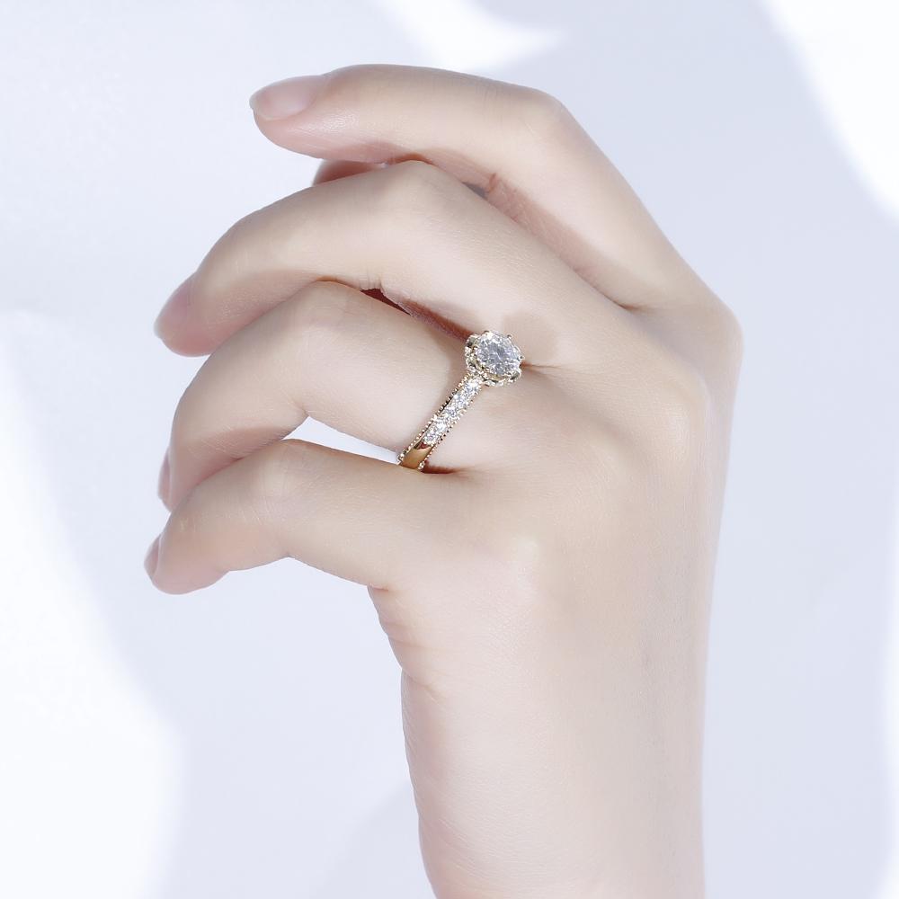 moissanite engagement ring 14k yellow gold 2019 vintage ring (5)