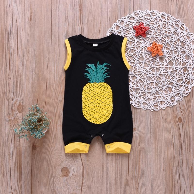 Pineapple Infant Baby Boys Girls Crawling Suit Short Sleeves Onesie Romper Jumpsuit