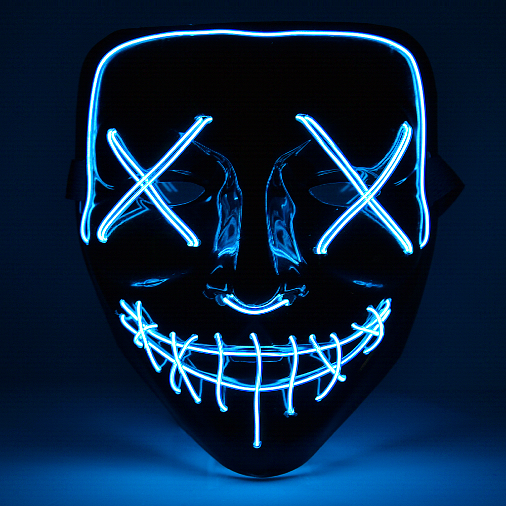 Halloween Mask Light Up Neon Skull Funny Mask The Purge Costume Election Party Mask Glow In Dark Scary Eve Masks Supply (1)