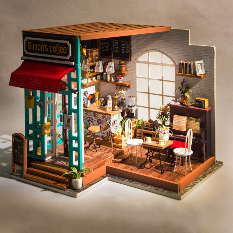 Doll House Miniature DIY Model Doll House and Furniture American Vintage Style Wooden House Handmade Toy Simons Sunshine Coffee House