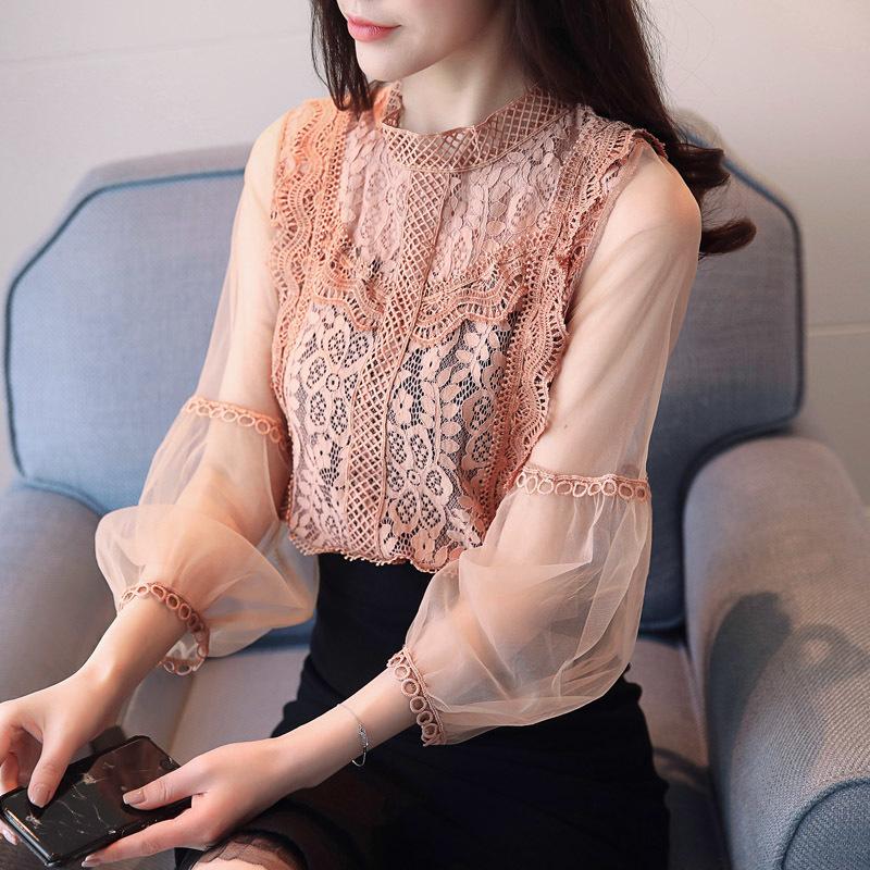 Litfun 2018 Spring New Korean fashion crochet lace shirt Hollow out gauze Mesh Lantern Sleeve Chiffon Blouse Women Casual Tops