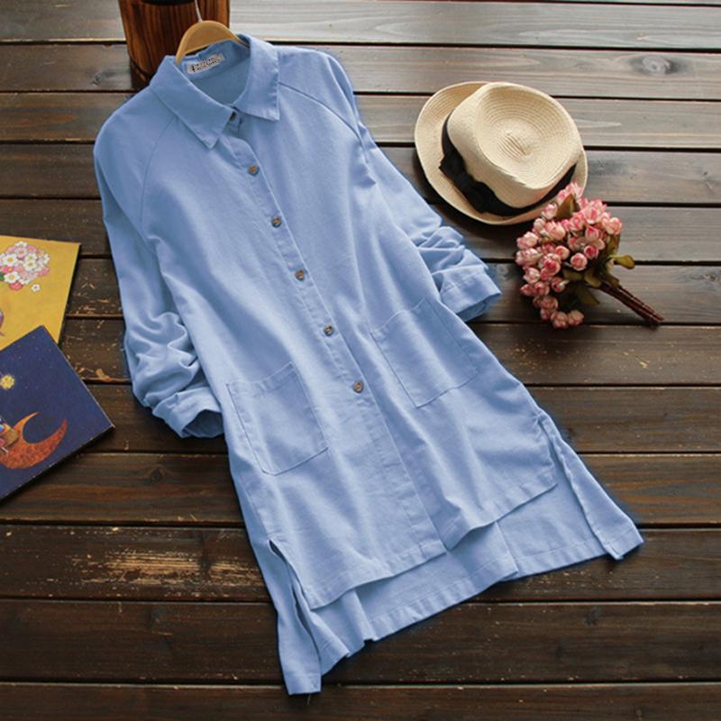 Women/'s Ladies Solid Loose Casual Cotton Linen Tops Shirt Blouse Plus Size S-5XL