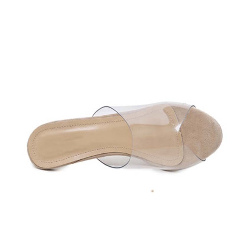 Dress Transparent Heel Sandals Slippers Pumps 2019 New Pvc Jelly Sandals Crystal Open Toed Sexy Thin Heels Crystal Women Shoes