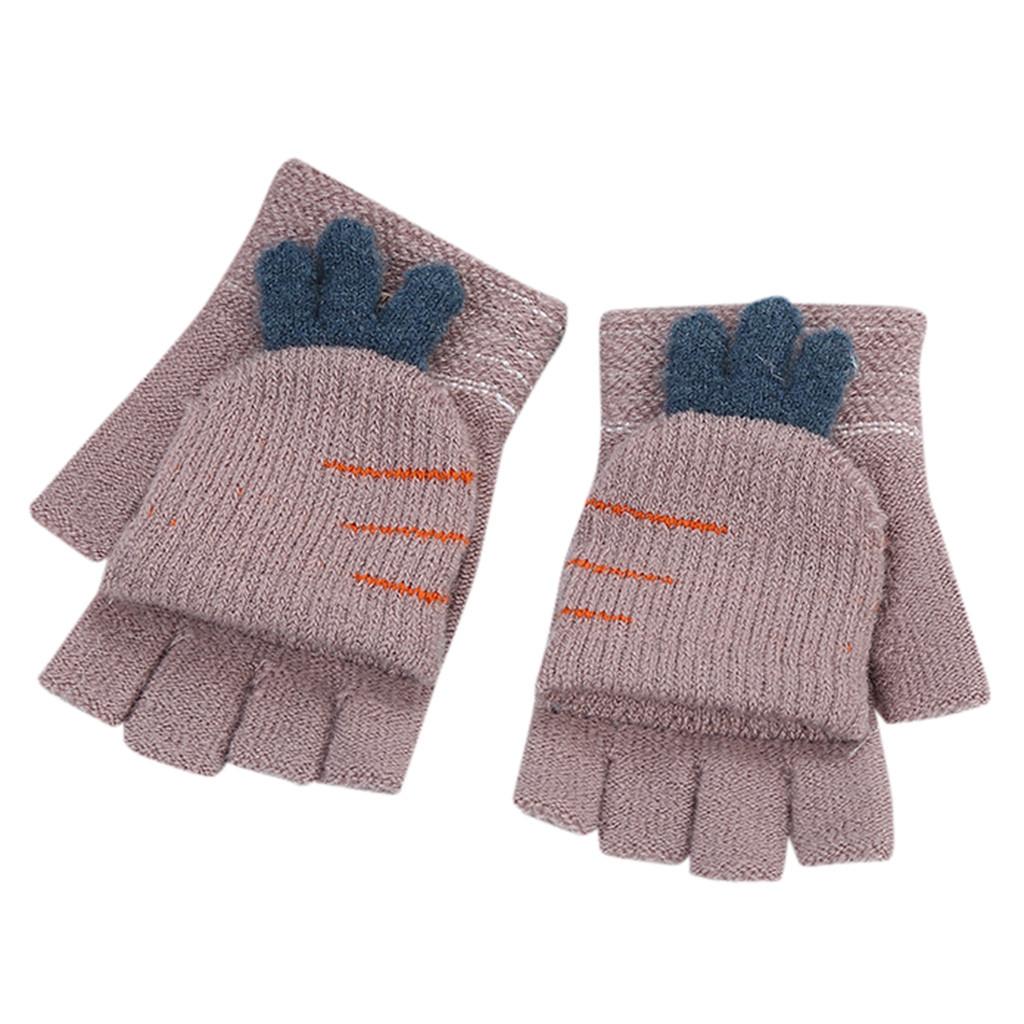 Kids Cute Carrot Knitting Fingerless Gloves Warm Flip Top Mittens Christmas Gift