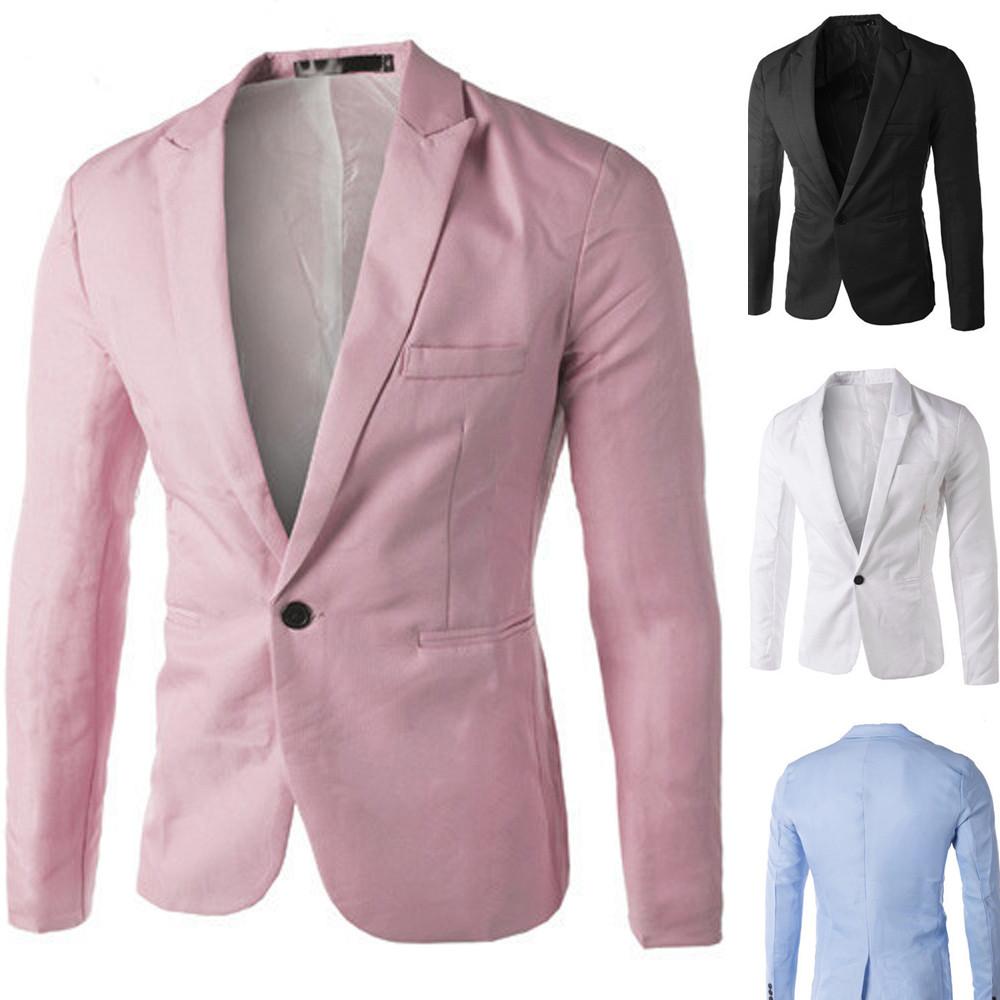 Plus Size Mens Formal Slim Fit One Button Suit Blazer Business Coat Jacket Tops