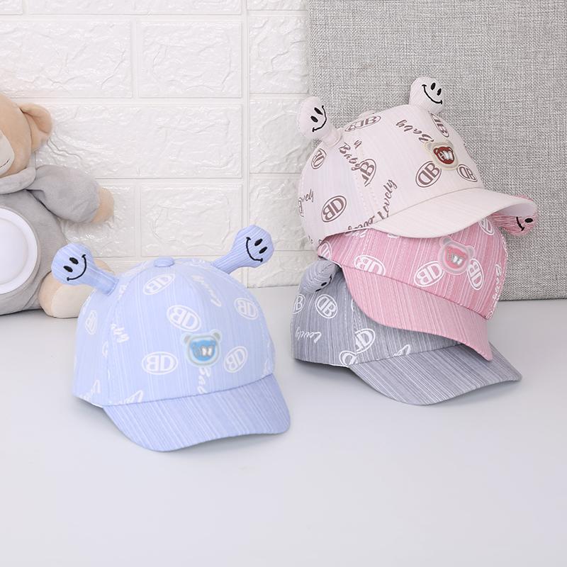 Baby Kid Boy Cotton Blend Spring//Autumn Hat Cap with strings Stripy 1-3 months