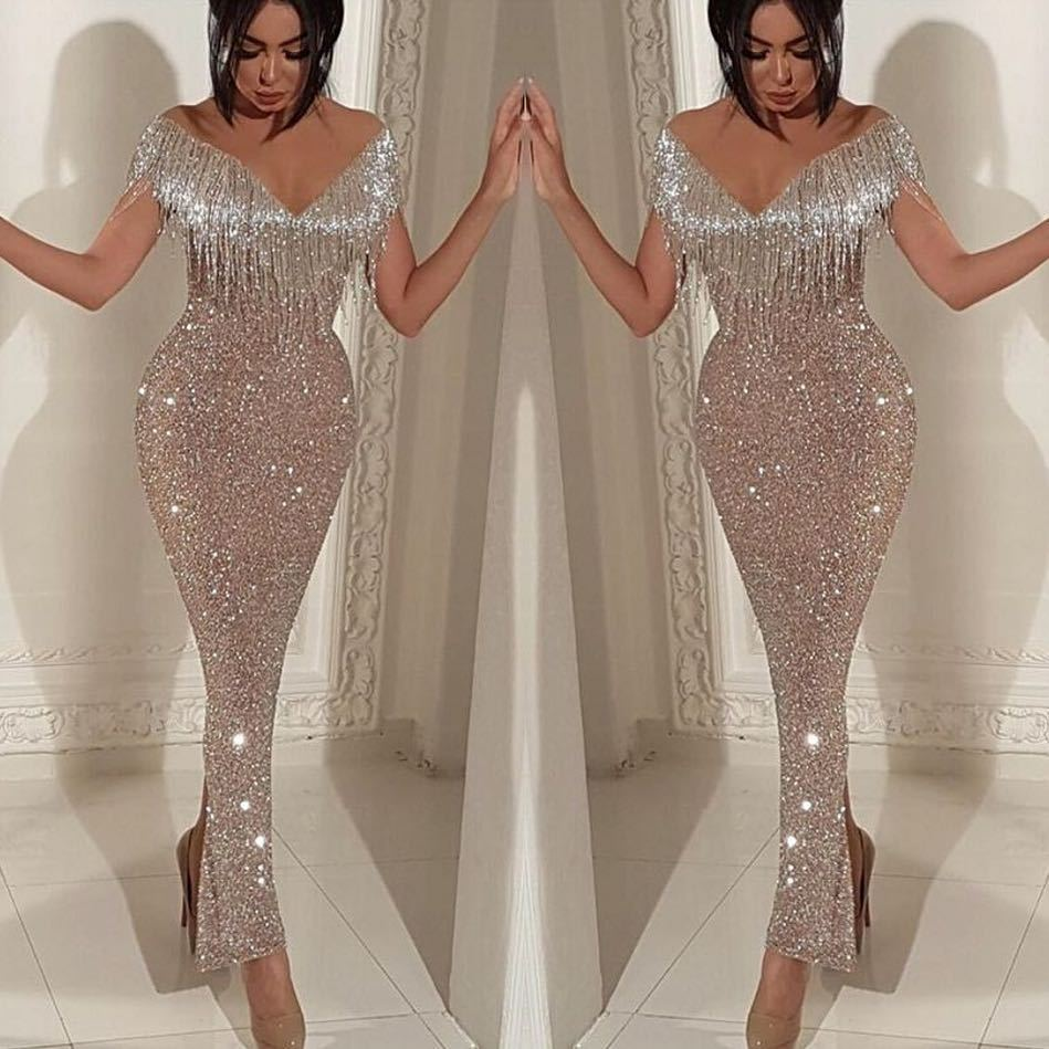 Bling Gold Sequins Mermaid Prom Dresses 2019 Cheap Long Off Shoulder V Neck Ruffles Sweep Train Evening Gowns Pageant Dress Formal