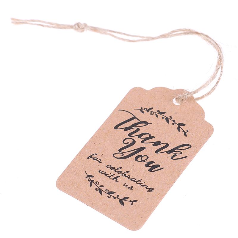 100pcs vous remercier Handmade kraft cadeau tags mariage fête Hang étiquette papier bricolage WRB