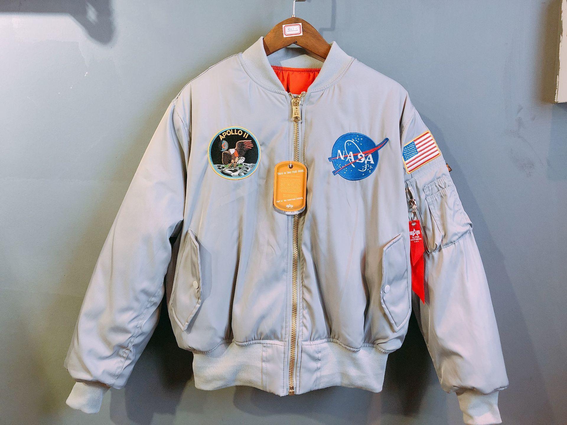 Dear2019 Apollo Nasa Anniversary Fund Ma1 Giacca da volo Clip in cotone bifacciale Tendenza militare Tenere in caldo Ricamo Cappotto allentato