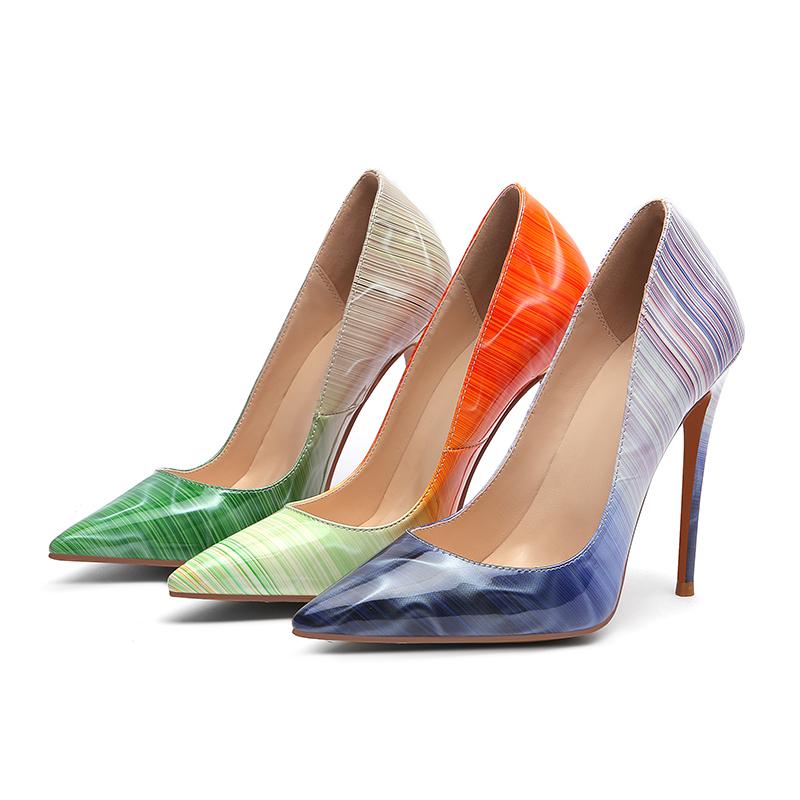 Wetkiss Stiletto Heels Pumps Frauen Spitz Schuhe Flache Schuhe Weibliche Streifen Patent Pu Schuhe Frau Sommer Plus Größe 33-45