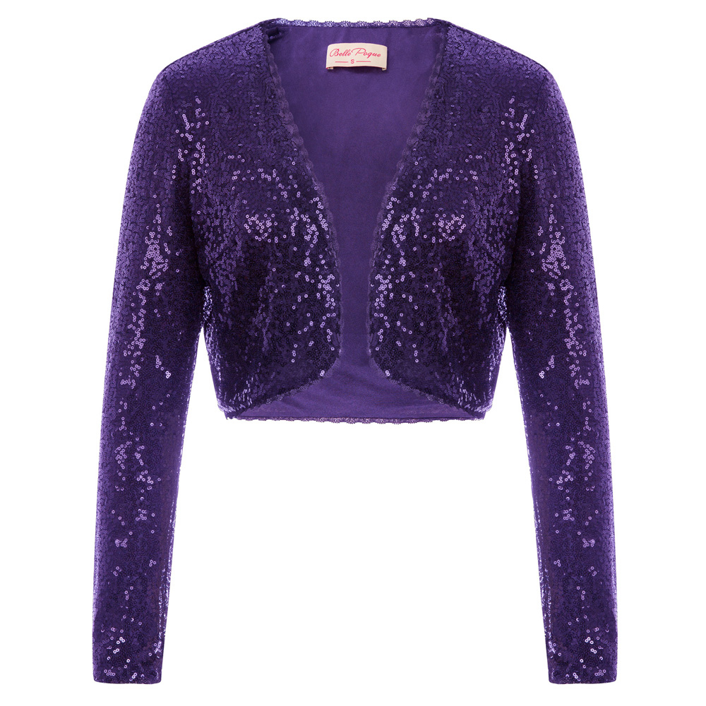 BP Women's clothing Shining Sequined tops Long Sleeve Waved neckline Cropped Length Open Front Bolero Shrug for wedding party T190829