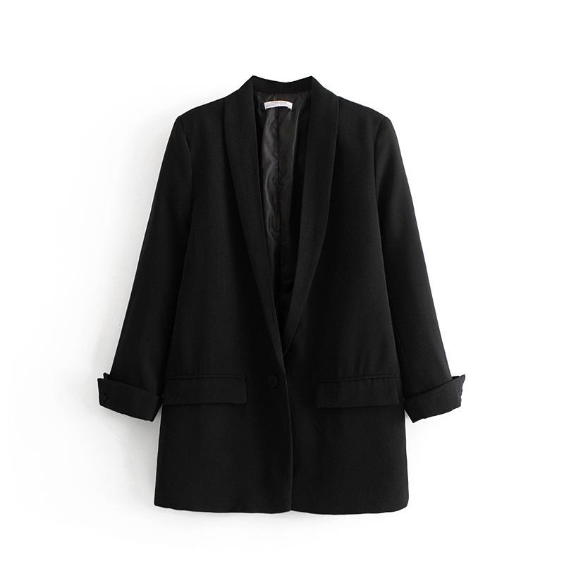 Frauen-Normallack-lange Blazer-Jacke faltete Hülsen-losen Mantel-Büro-Dame Work Style Small Suit Single-Knopf-Blazer Y190827