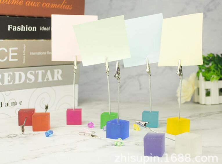 Lot 10pcs Color Cube Alligator Wire Photo Clip,Memo Holders,Card Wedding Place
