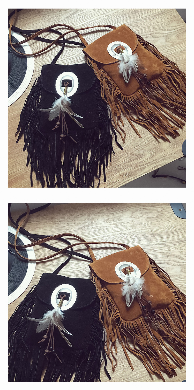 Female Small suede Bag Brown Beaded Feathers Hippie American Indian Tribal Bohemian Boho Chic Ibiza Style Pouch Bag (9)