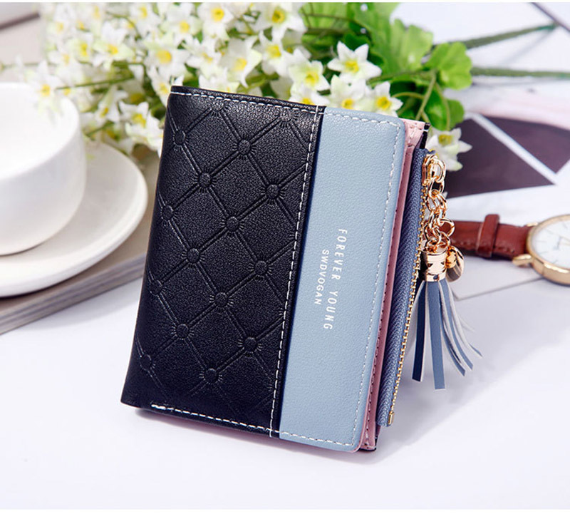 Women Wallet Female Short Paragraph Coin Purse Color Wallet Women Small Fold Wallets Tassel Zipper Button Bag Credit Card Holder (15)