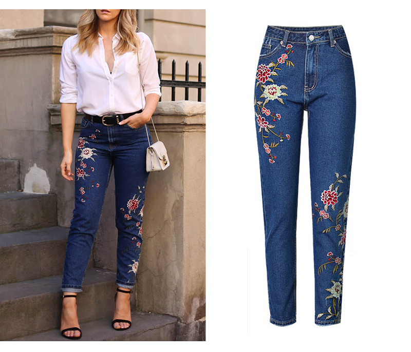 2017 European and American women 3D stereo front and rear side embroidery high waist Slim cowboy nine feet pants fashion wild (2)