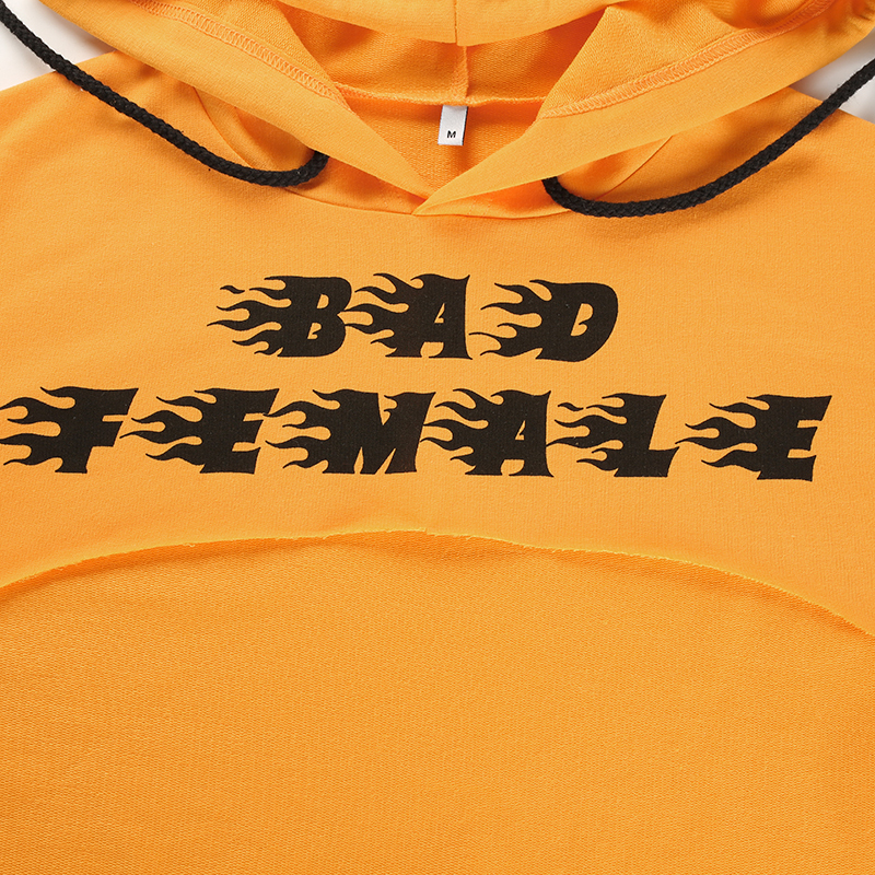 9Sweetown Plus Size Crop Top Long Sleeve Tshirt Women Orange Letter Printed Tee Shirt Femme Girl Power Woman T Shirt Hoodie Top