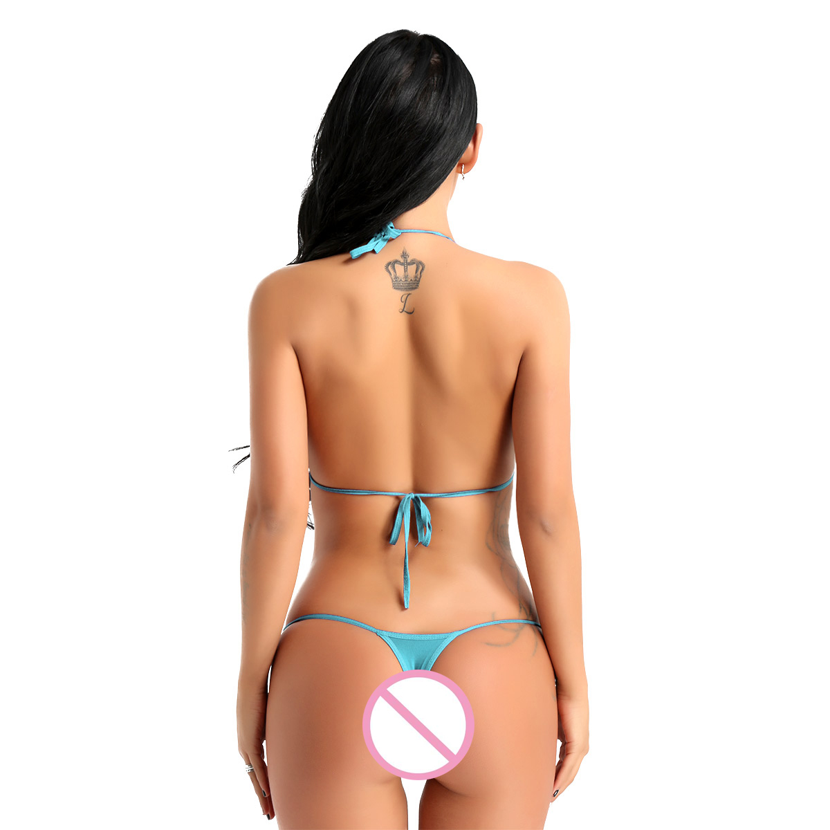 Womens Intimate Lingerie Set Solid Color Halterneck Mini Micro Bikini Bra Top with G-String Briefs Underwear Sexy Party Show