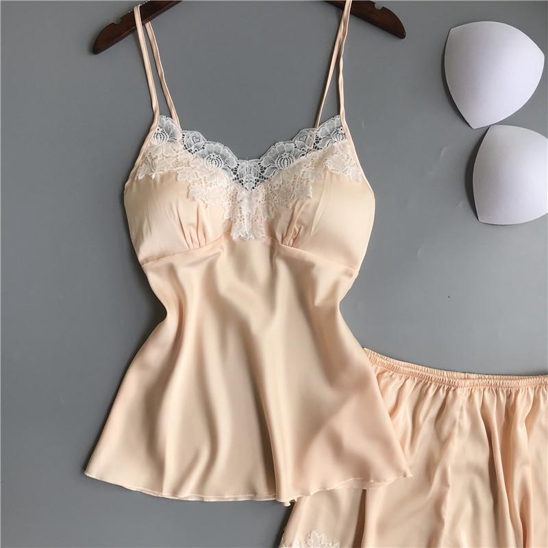Queenral Pajama Sets For Women Summer Silk Satin Pijama Lingerie Sexy Pyjamas Women Nightie With Chest Pad Femme Pajama Shorts 6