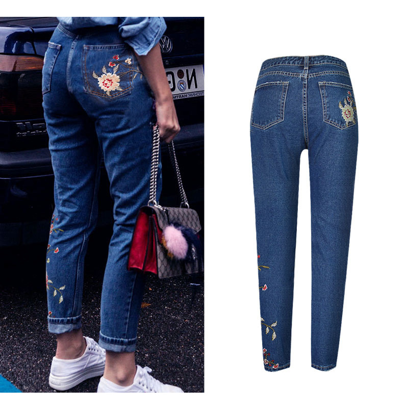 2017 European and American women 3D stereo front and rear side embroidery high waist Slim cowboy nine feet pants fashion wild (7)