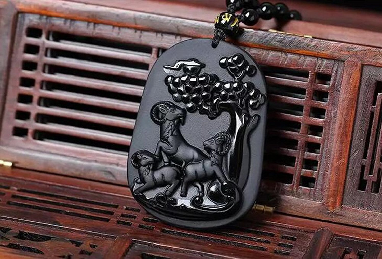 Fine Jewelry Hand Carved Natural Obsidian Eye Pendant Wishful Three Sheep Necklace Pendant