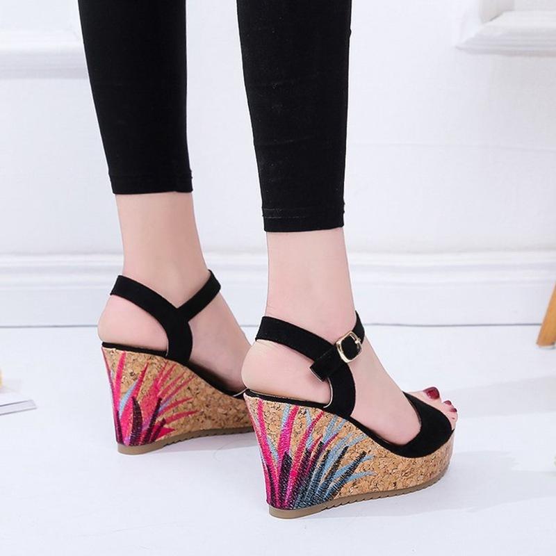 COOTELILI High Heels Women Summer Shoes Women Sandals Summer Shoes Women Open Toe Embroidery Beach Sandals 35-39 (9)